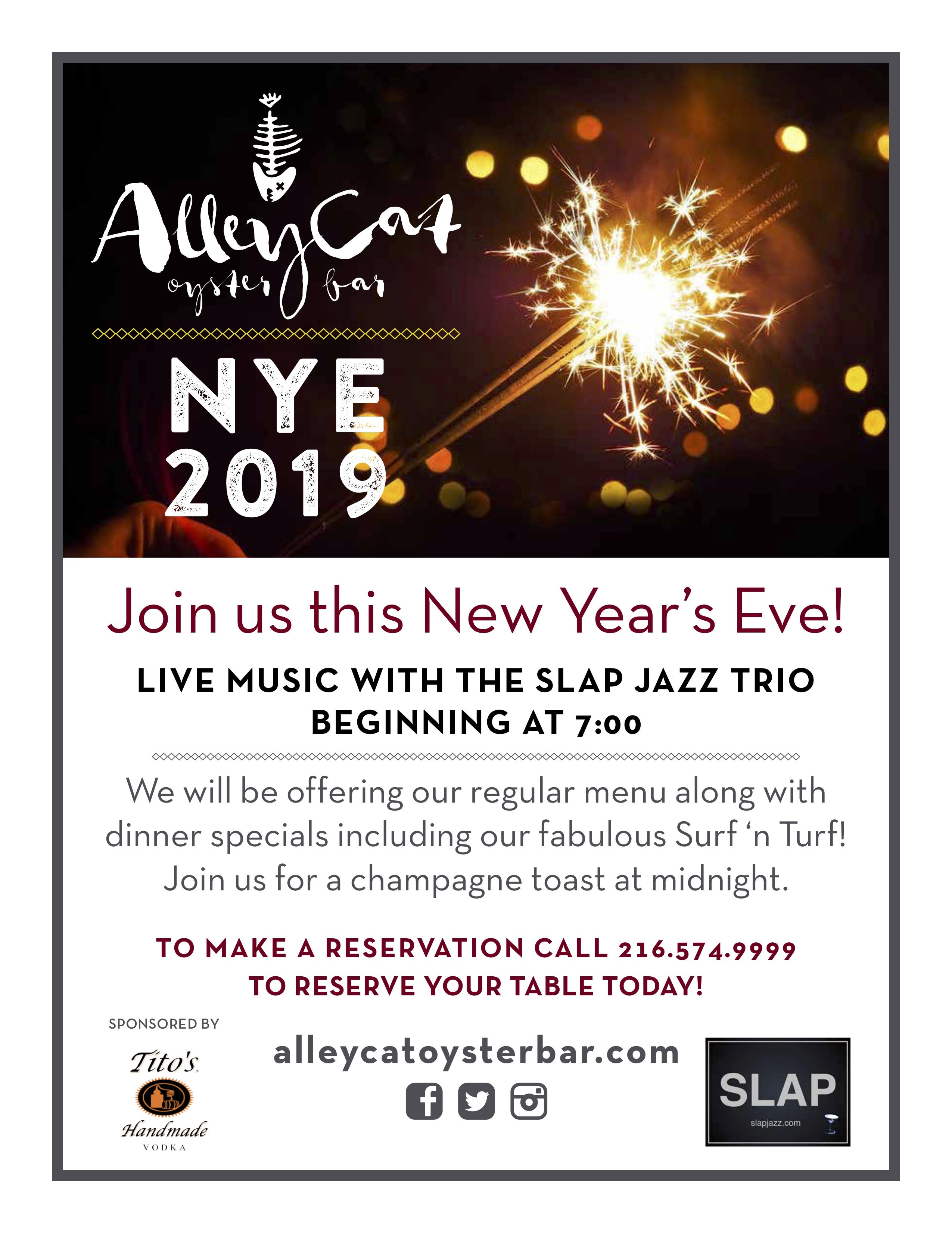 Alley Cat Oyster Bar New Years Eve 2019