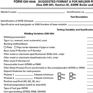 Form QW-484A Sample