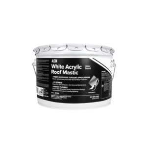White Acrylic Roof Mastic used to repair/seal roof surfaces prior to applying white elastomeric roof coatings